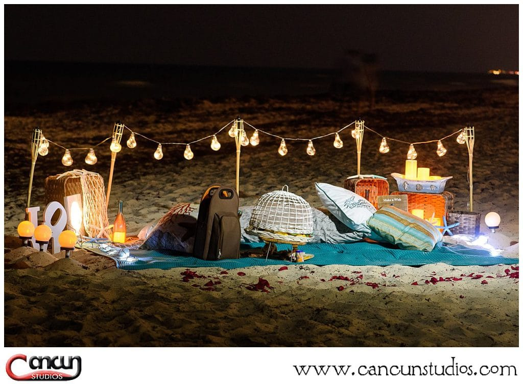 Moonlight Cancun Picnic on the beach