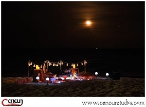 Picnic Proposal on the beach during Moonlight